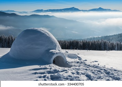 real igloo in high winter mountains