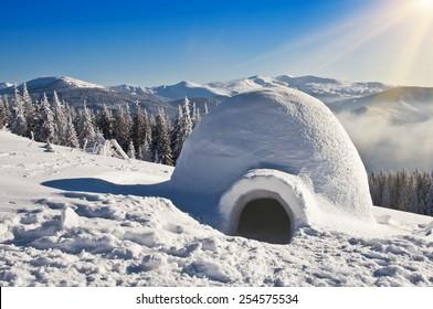 real igloo on the snow