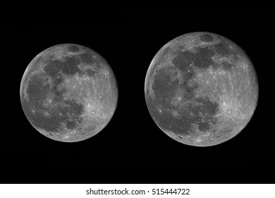 real image of the full moon taken with telescope while it is in the perigee (14% bigger) and while it is in the apogee of its orbit. Full moon when coincides with perigee, is called supermoon