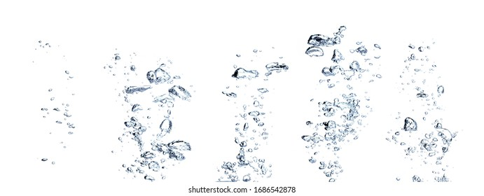 Real Images of small air water bubbles  or soda floating up to water surface. Gas power in carbonate refreshing on white background
