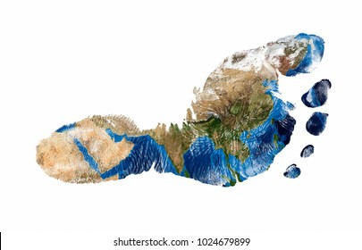 Real imprint of child foot with a world map of Asia - isolated on white background