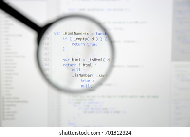 Real Java Script code developing screen. Programing workflow abstract algorithm concept. Closeup of Java Script and HTML code.
