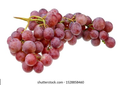 A real  large bunch and heap of sweet red  rose  Isabella grapes. Isolated on white studio macro set