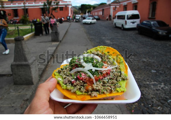 Real Latin American Tostada with Onion, Meat, Salsa, Tomato / Latin American Food