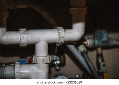 real Leakage Of Water From Pipe on home background
