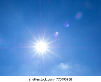real lens flare of the sun on blue sky background