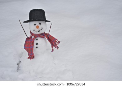 Real little smiling happy Snowman outdoors