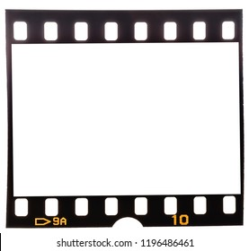 Real macro photo of 35mm dia film strip or frame on white, easy to use for your own pictures