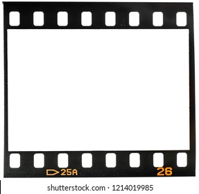 Real macro photo of old 35mm film dia frame or strip on white