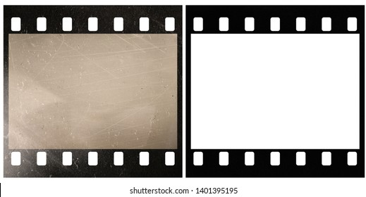 real macro photo of old 35mm film strip or snip with and without scratches and light effect