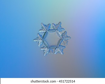 Real macro photo of snowflake, sparkling on light blue gradient background. This is unusual snow crystal: with big, flat and empty central hexagon, relief outer rim and six detailed  arms with ridges.