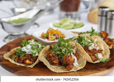 Real Mexican Tacos al Pastor. shepherd's tacos with cilantro and onion