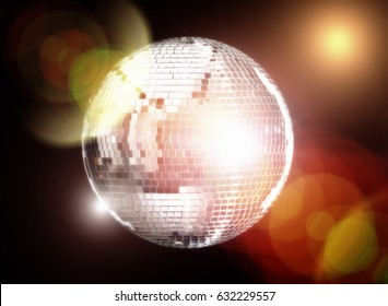real mirror ball disco club on dark background