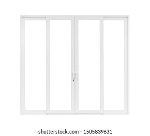 Real modern house door window frame isolated on white background