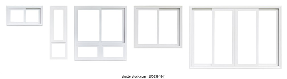 Real modern house window frame set collection isolated on white background - Shutterstock ID 1506394844