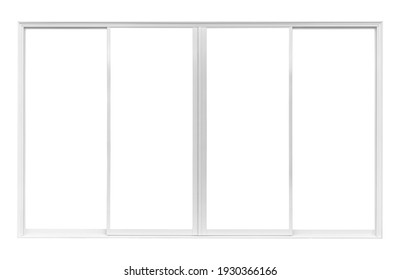 Real modern house window frame isolated on white background with clipping path
