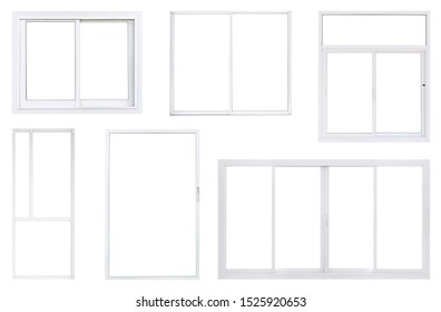 Real modern office window frame set isolated on white background, double pvc panes in various type for interior design element