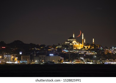 Real Moonset over Suleymaniye Mosque istanbul