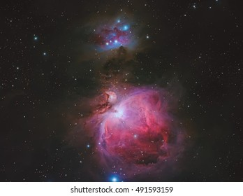 Real nebulae in the constellation Orion called Orion nebula  and Running Man Nebula
