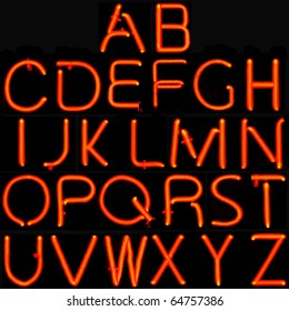 Real neon sign capital letter alphabet black background