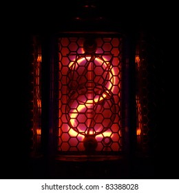 The real Nixie tube indicator of the numbers of retro style. Indicator glow with a magical purple fringing. Digit 2