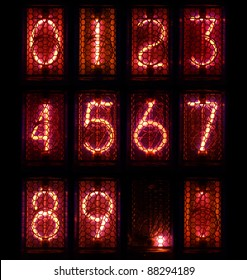 The real Nixie tube indicator a set of decimal digits.