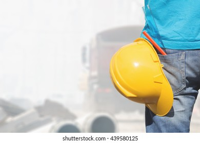 Real and ordinary construction worker on his job.