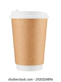 Real paper coffee cup isolated.