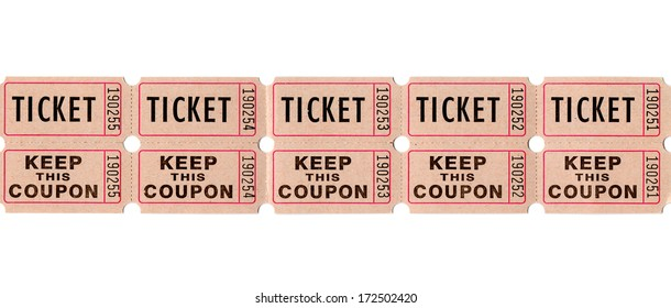 Real paper retro vintage ticket stub for movies, cinema, raffle event or performance, isolated on white background