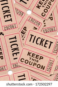 Real paper retro vintage tickets for movies, cinema, raffle event or performance. Background sample image.