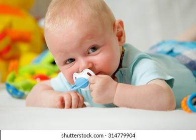 Real People: Headshot Smiling Caucasian Baby Boy