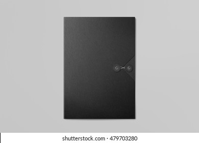 Real photo, black folder on grey background to replace your design. With clipping path, isolated, changeable background.