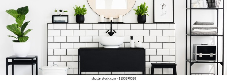 Real photo of black and white bathroom interior with fresh green plants, metal rack with towels and candles placed under mirror