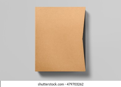 Real photo, blank cardboard folder on grey background to replace your design. With clipping path, isolated, changeable background.