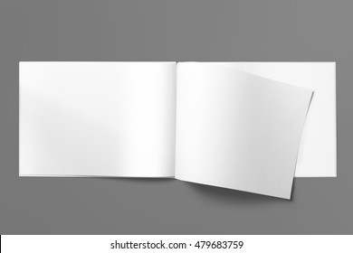 Real photo blank landscape A4, US-Letter, brochure magazine isolated on gray, with clipping path, changeable background.
