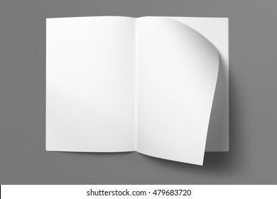 Real photo blank portrait A4, US-Letter, brochure magazine isolated on gray, with clipping path, changeable background.