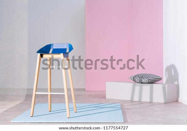 Real Photo Blue Bar Stool Wooden Royalty Free Stock Image