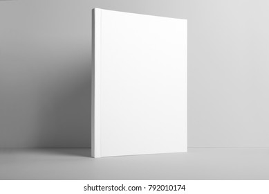 Real photo, brochure, booklet, magazine mockup template, hard cover, isolated on light grey background to place your design.
