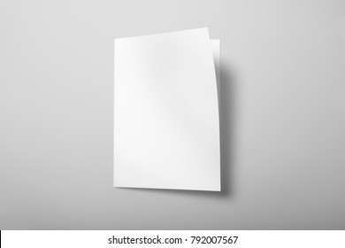 Real photo, brochure mockup template, softcover, isolated on light grey background to place your design.