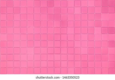 real photo of colorful bright pink tiles  square mosaictiles wall of the bathroom