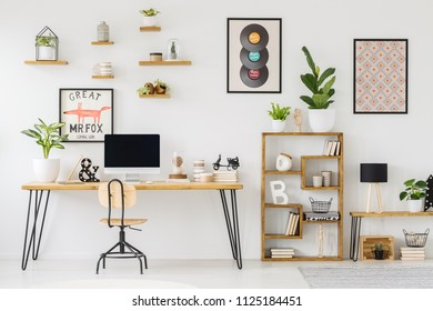 Real photo of a desk with a computer screen, ornaments and a plant standing next to shelves with plants in workplace with posters and small shelves on white wall