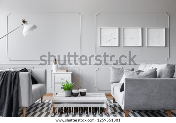Real photo of an elegant living room interior with a low coffee table, sofas and three graphics