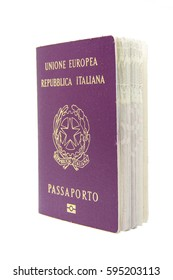 Real photo of a italian passport isolated on white background.