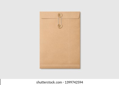 Real photo, kraft paper A4/C4 size string and washer envelope mockup template, isolated on light grey background. High resolution.