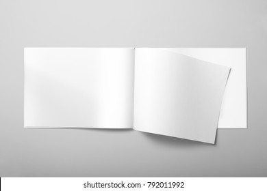 Real photo, landscape brochure, booklet, magazine mockup template, hard cover, isolated on light grey background to place your design.