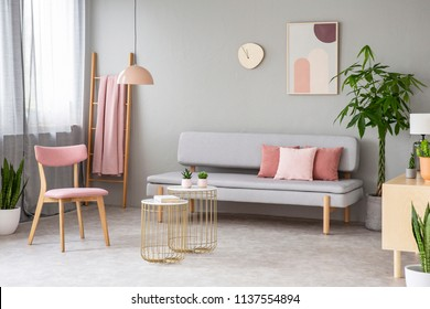 Real photo of lounge with dirty pink pillows, simple poster, pink chair, gold end tables with cacti and window with curtains
