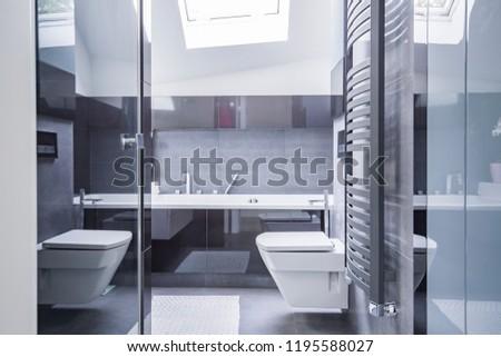 Real photo modern bathroom interior tab stock photo edit now