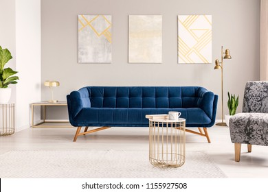 Real photo of a modern living room interior with a sofa, paintings, coffee table and lamp