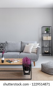 Real photo of a natural living room interior with a sofa, lavender and coffee table. Empty wall, place your painting