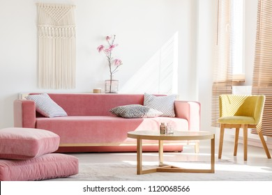Real photo of a pink couch with pillows standing next to big pillows and yellow armchair, behind a wooden table in bright living room interior with flowers and blinds on windows